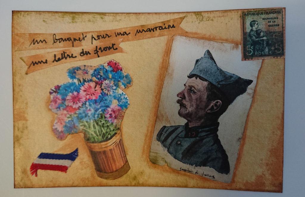 C'est au travers de cartes et de lettres réalisées par les résidents qu'est racontée la belle histoire des Marraines de Guerre aux élèves de l'école Simon Boussiron.